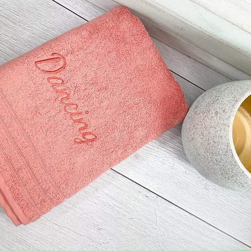 Serviette de bain bouclette de coton biologique brodée prénom