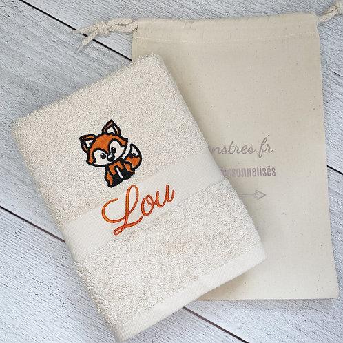 Serviette de bain éthique brodée renard - cadeau personnalisé