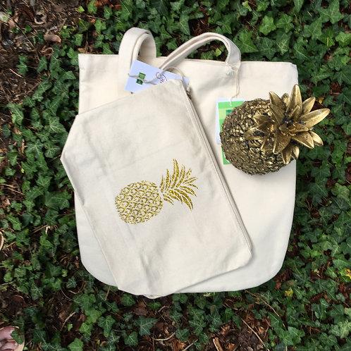 Pochette éthique ananas or pailleté