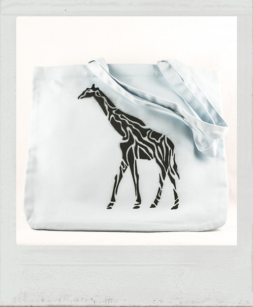 Sac éthique pochoir Afrique girafe bleu