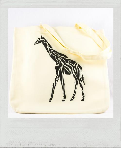 Sac éthique pochoir Afrique girafe jaune