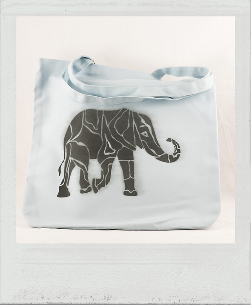 Sac éthique pochoir Afrique éléphant bleu
