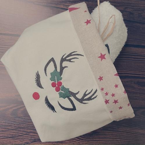 Vide-poche en coton brodé renne et sa serviette invité