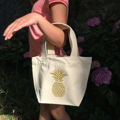 Petit sac éthique ananas or pailleté