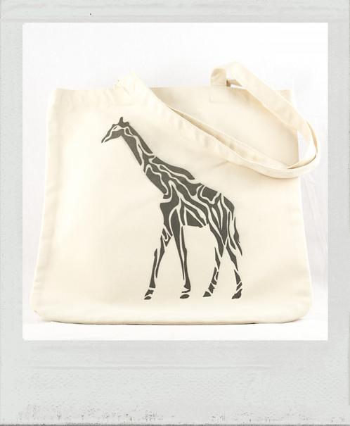 Sac éthique pochoir Afrique girafe écru
