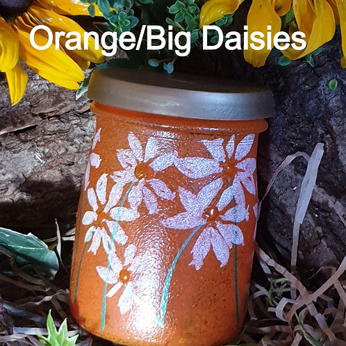 Seed Jar Orange/Big Daisies