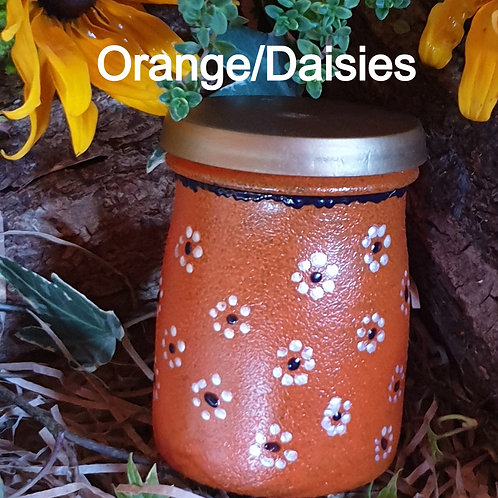 Seed Jar Orange/Daisies