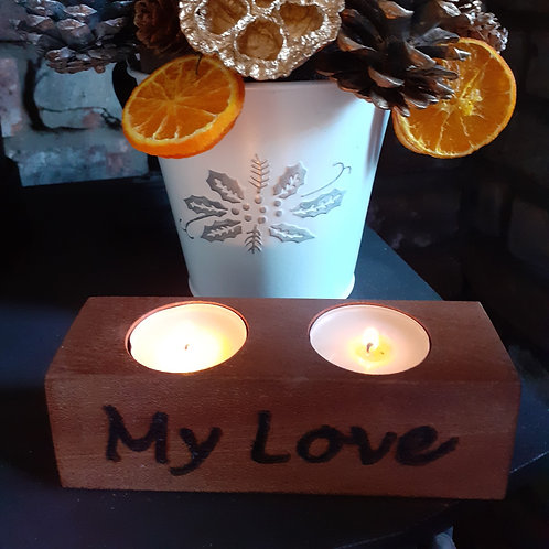 'My Love' Candle Holder (14.5x4.5x4.5cm)