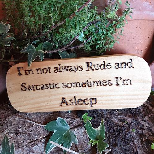 Wooden Plaque /Not Always Rude