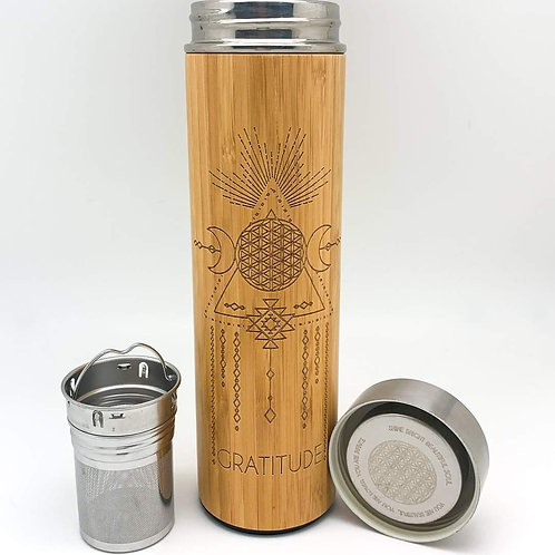 15.2 oz Bamboo Tumbler - Gratitude -Bhavana Bottle