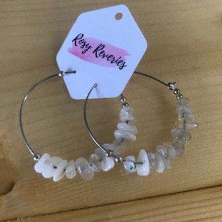 Rainbow Moonstone Crystal Hoop Earrings - Rosy Reveries