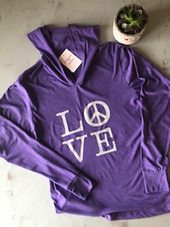 Unisex -LOVE - Triblend Long Sleeve Hooded Tee