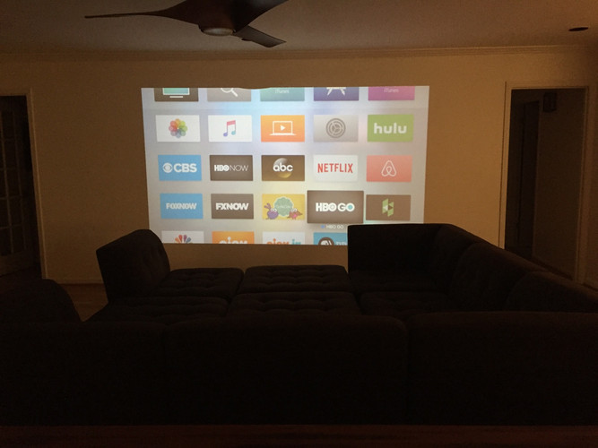 Apple TV and Playstation - on projector