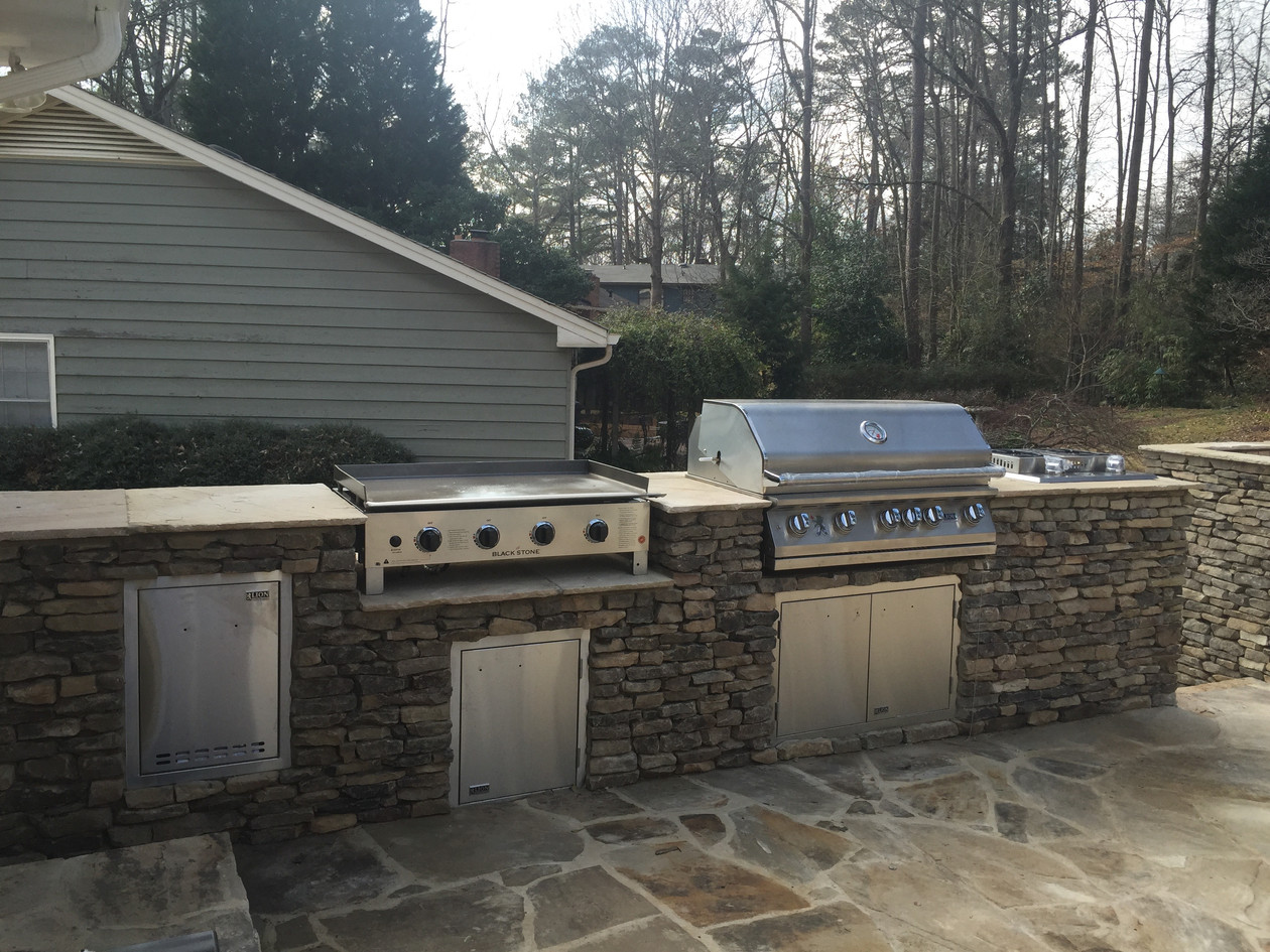 outdoor kitchen - griddle, grill, double burner