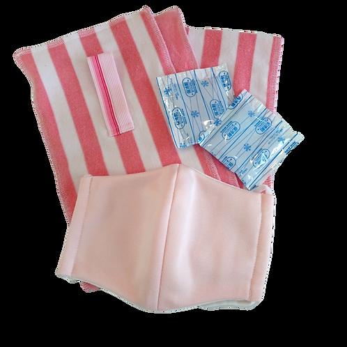 保冷剤ポケット付きタオルセット【大】BS-2ピンク×制菌ピンク