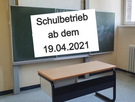 Neue Schulmail und Schulbetrieb ab dem 19.04.2021