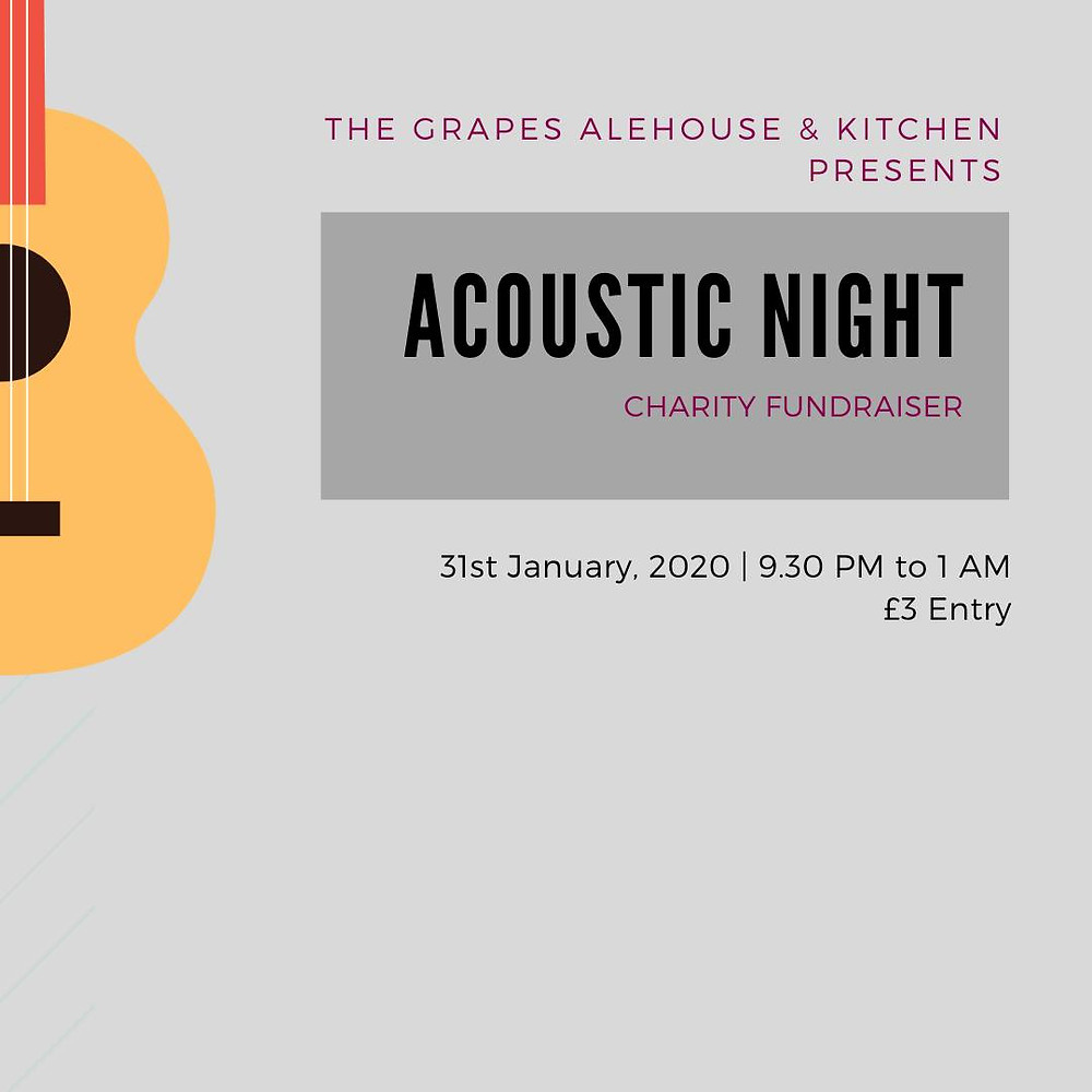 Acoustic Night at The Grapes Alehouse & Kitchen, Falmouth. January 31st 2020. Raising money for Dig Deep