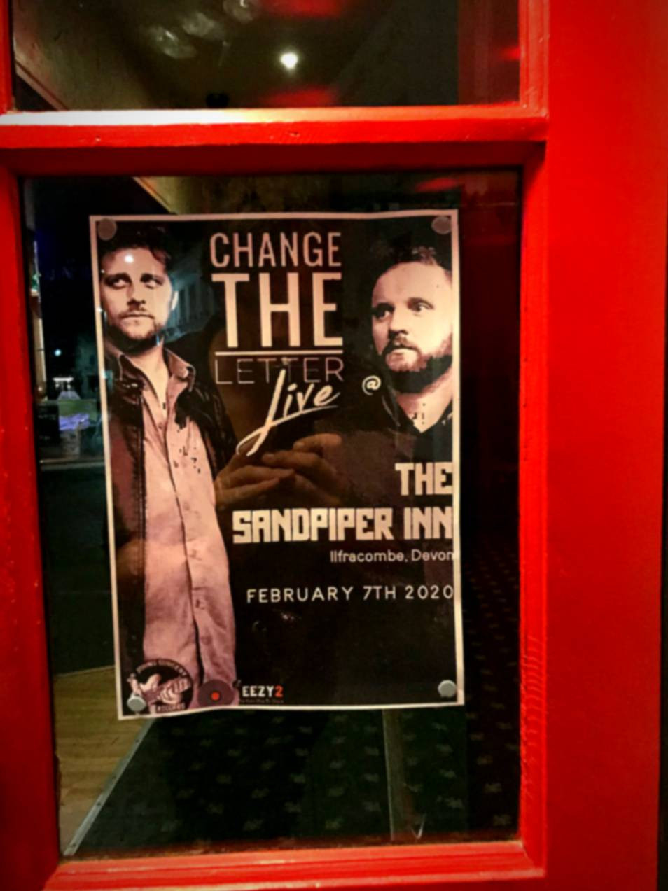 Event poster, Change the Letter live, The Sandpiper Inn, Ilfracombe 7th February 2020