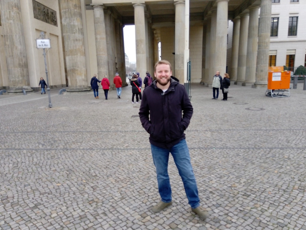 Rob Griffiths of Change the Letter at Brandenburg Gate, Berlin