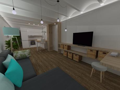 Render 3D Salón Cocina