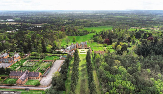 Aerial view of the vast Minley Manor Estate