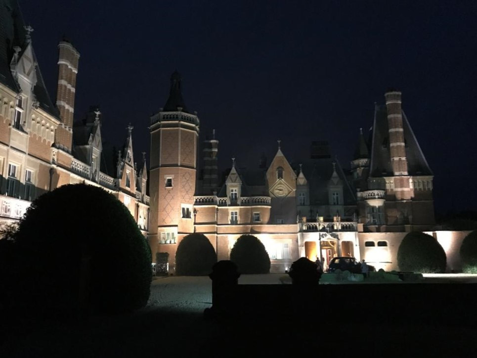 The opulence of the French chateux style architecture of Minley Manor is a magnificent back drop even at night