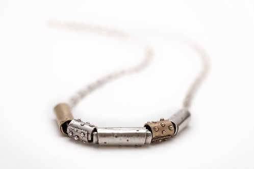 Silver and Bronze Barrel Necklace