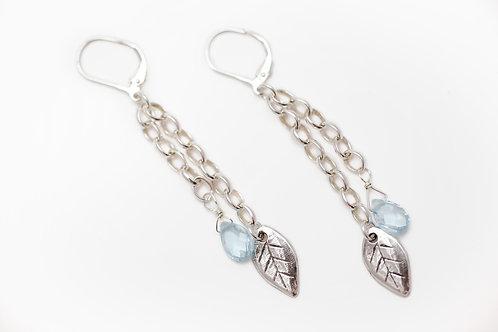 Blue Topaz and Leaf Earrings