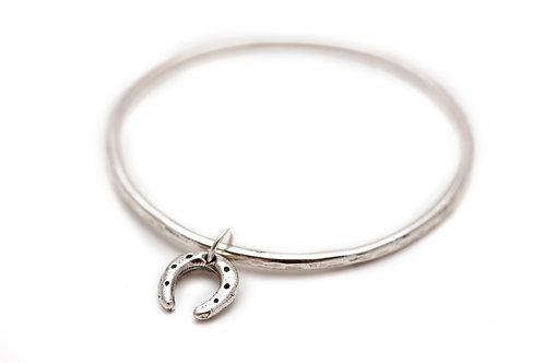 Bangle Bracelet with a Horseshoe Charm