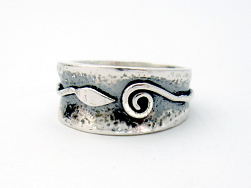 Spiral and Leaf Ring