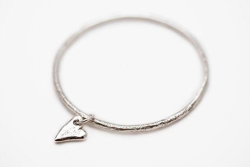 Bangle Bracelet with a Heart Charm