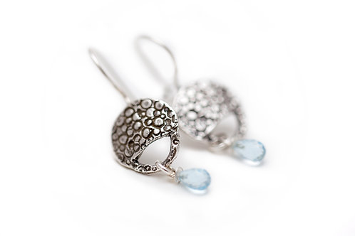 Lily-Pad Earrings with Blue Topaz