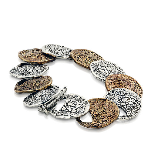Silver and Bronze Lily-Pad Bracelet