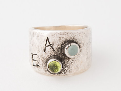Personalized Initial Birthstone Ring