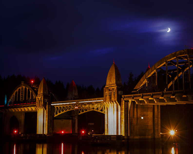 Siuslaw bridge cloudy crescent moon