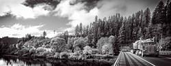 Mapleton Bridge with log truck BW Kim lo