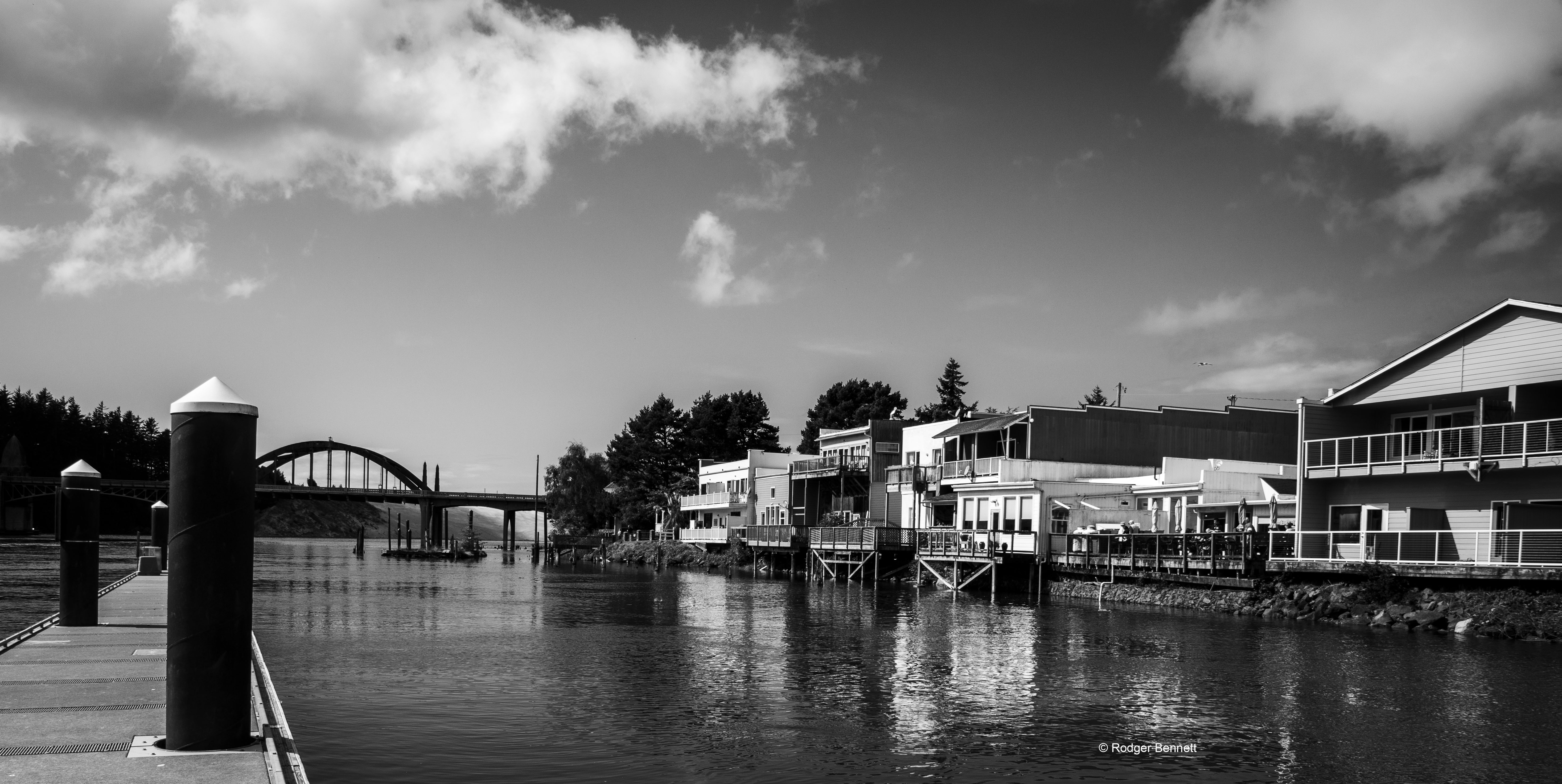Waterfront west from Mo's dock BW