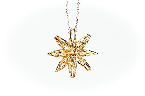 3D Geometric Star Necklace Pendant (18K gold plated on brass)