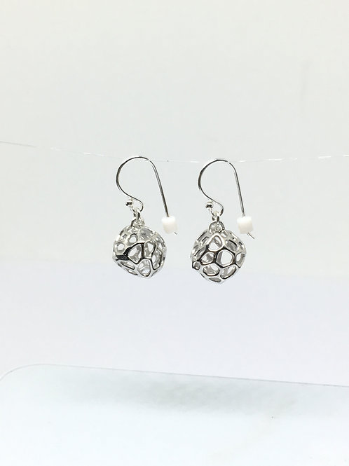 Mini Coral Rock Silver Earrings (Rhodium plated on Silver)