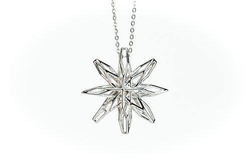 3D Geometric Star Necklace Pendant (Rhodium plated on brass)