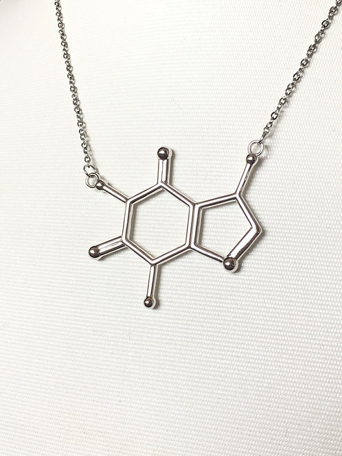 Caffeine Necklace (Rhodium plated on brass)
