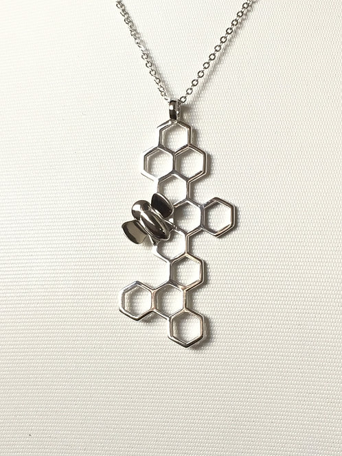 Honeycomb and Bee Silver Necklace