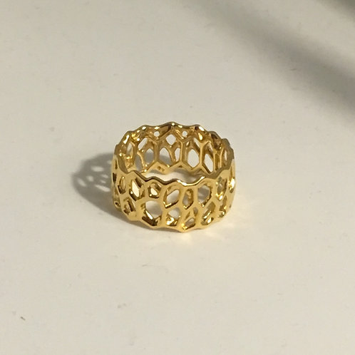 Voronoi Ring (18K gold plated on brass)