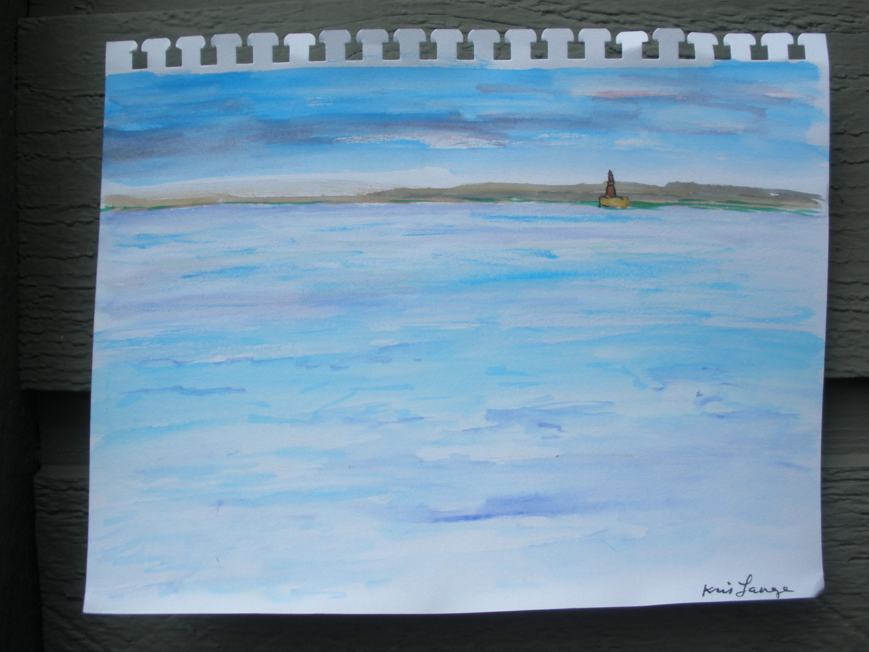 North Pier Lighthouse Michigan Watercolor