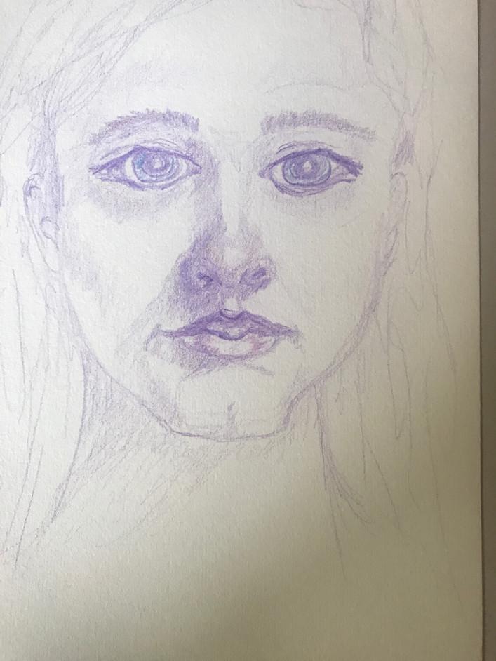 Woman Portrait Colored Pencil Sketch