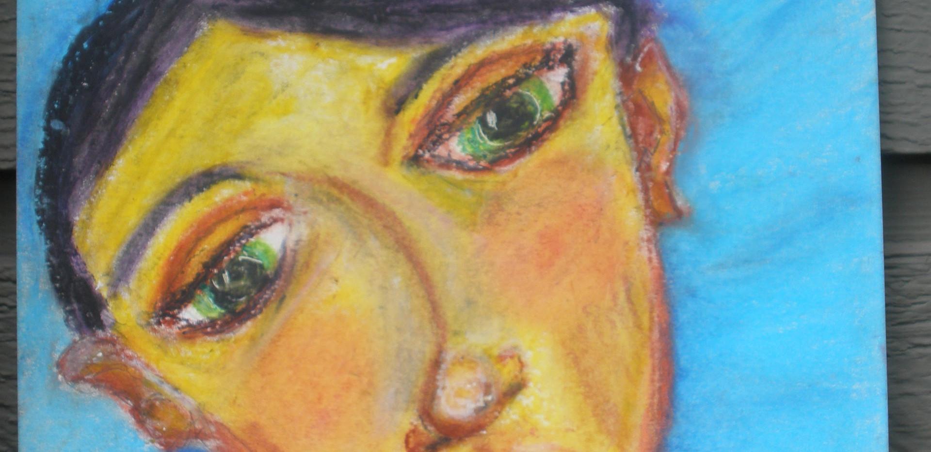Curious Head Tilt Woman Oil Pastel