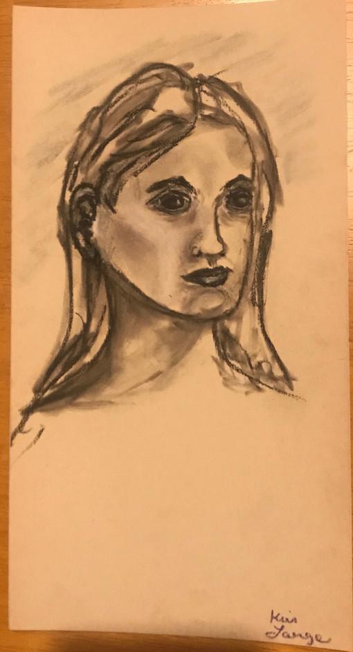 Woman Portrait Charcoal Sketch