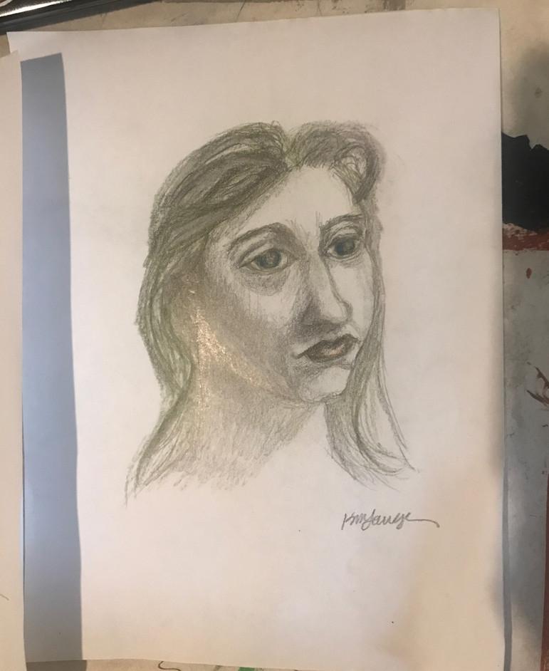 Woman Portrait Charcol Sketch