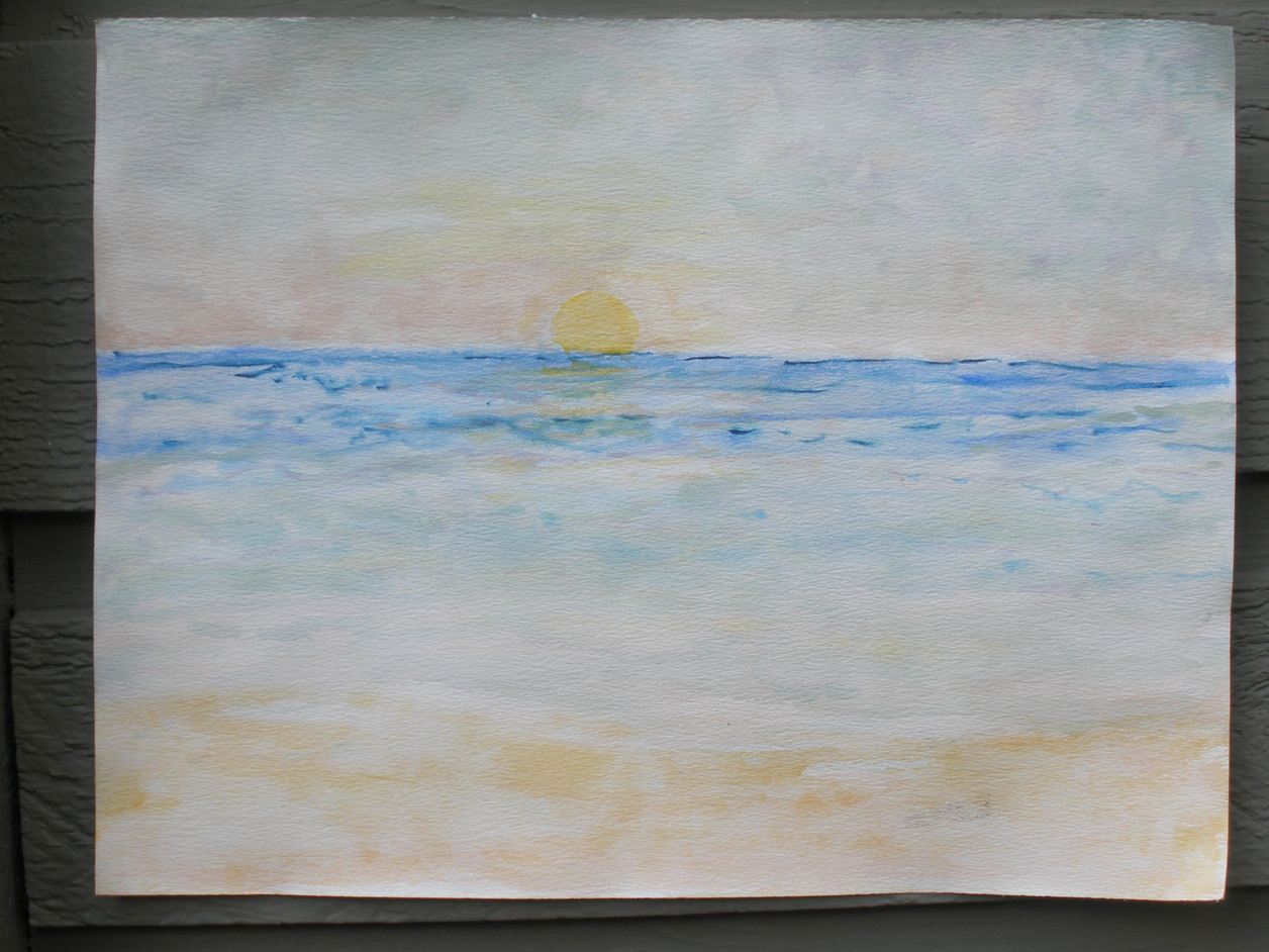 Watercolor Sunset Lake Michigan