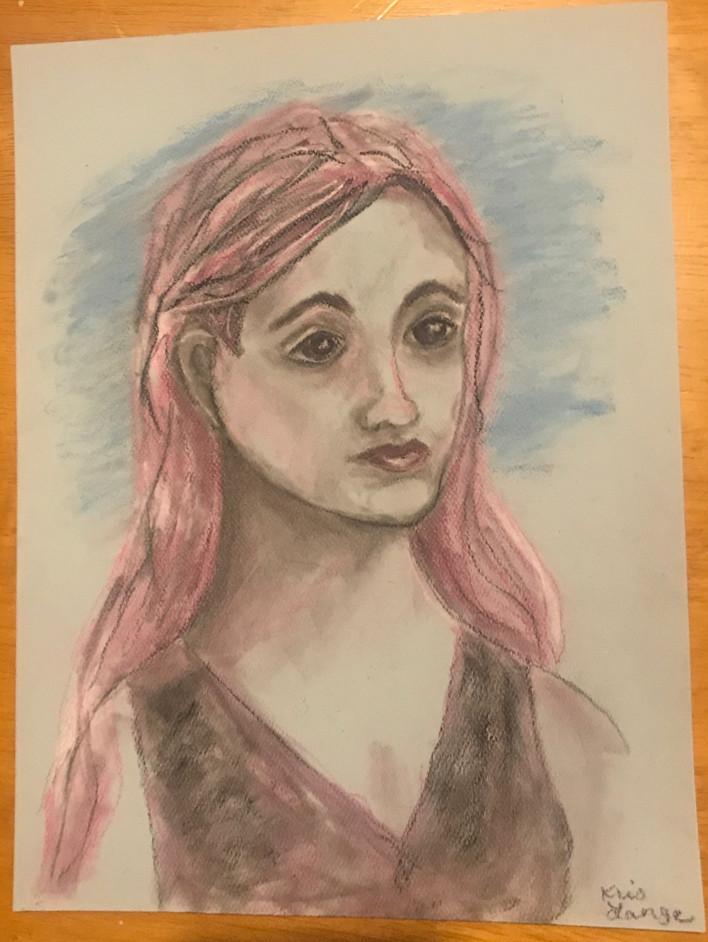 Woman Portrait Colored Pencil Pastel Sketch